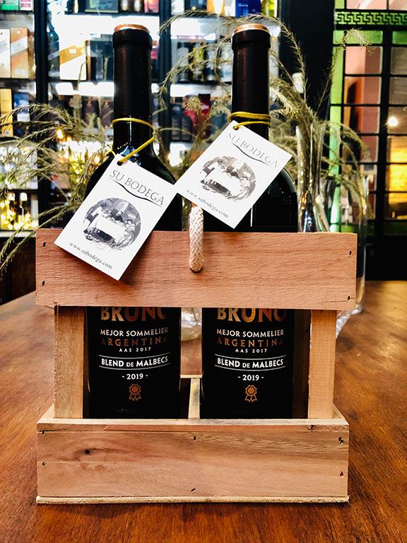 Cajoncito madera x 2 vinos Martín Bruno