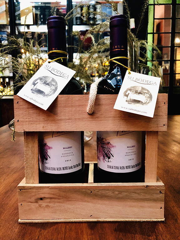Cajoncito madera x 2 vinos Paula