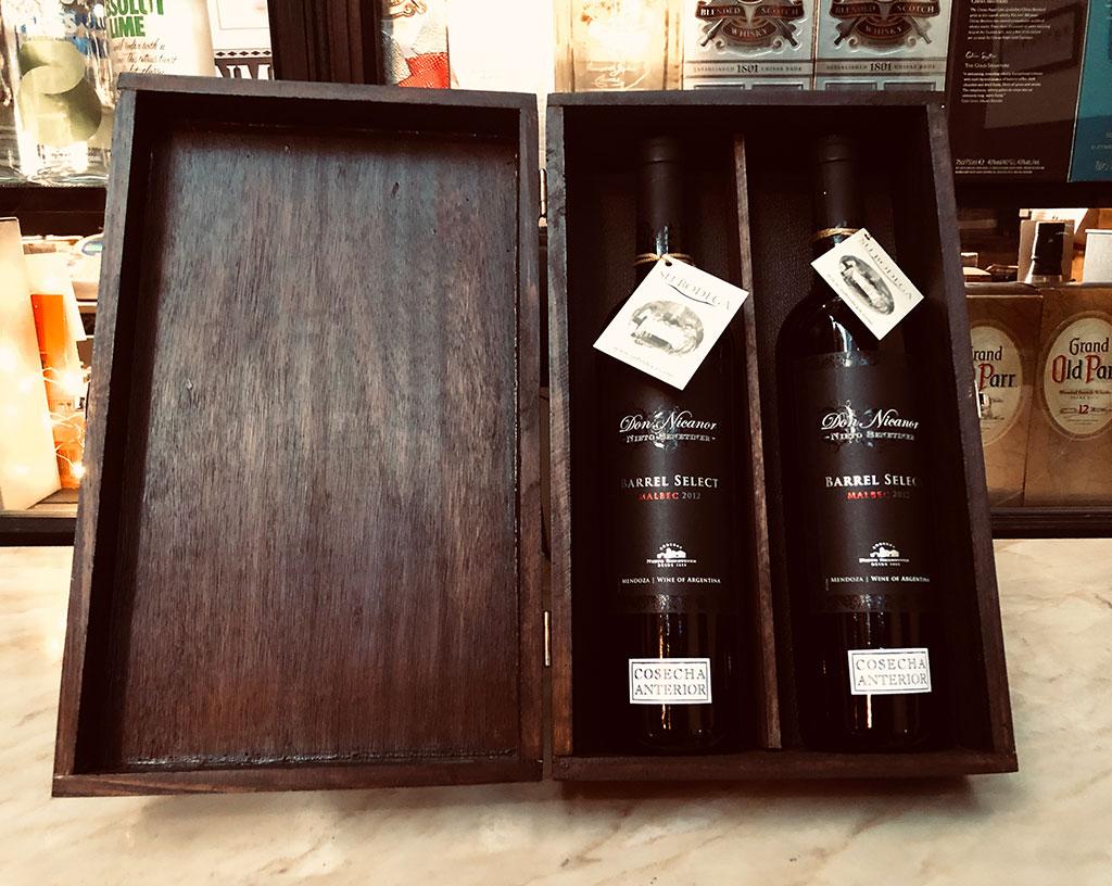 Estuche madera negra x 2 vinos Don Nicanor Barrel Select