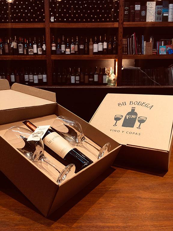 Estuche cartón vino y copas Las Perdices