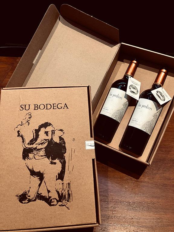 Estuche cartón 2 vinos Las Perdices